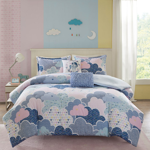 Blue Purple Pink Playful Clouds Duvet Cover Set AND Decorative Pillows (Cloud 9-Blue-duv)
