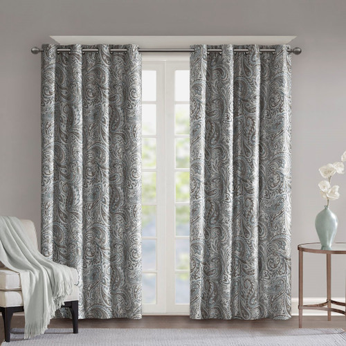 Soft Grey & Blue Paisley BLACKOUT Window Panel - Room Darkening (Jenelle-Grey-window)