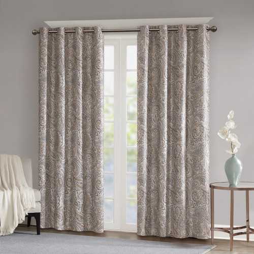 Soft Taupe & Grey Paisley BLACKOUT Window Panel - Room Darkening (Jenelle-Taupe-window)