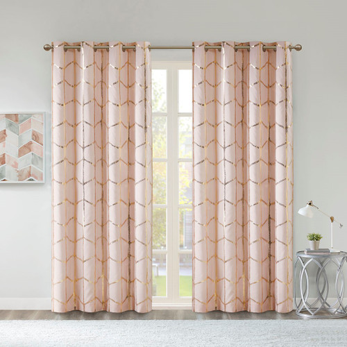 "Blush Pink Geometric Metallic Gold BLACKOUT Window Panel- 50x84"" (Raina-Blush-window)"