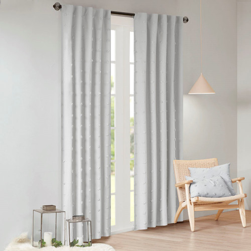 Grey on Grey Cotton Tufts Jacquard Pom Pom Window Panel (Brooklyn-Grey-window)
