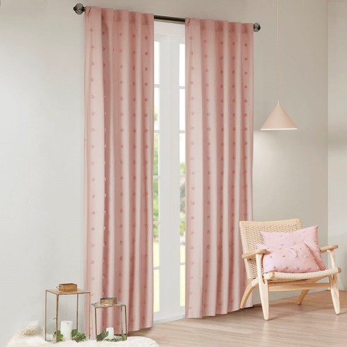 Pink on Pink Cotton Tufts Jacquard Pom Pom Window Panel (Brooklyn-Pink-window)