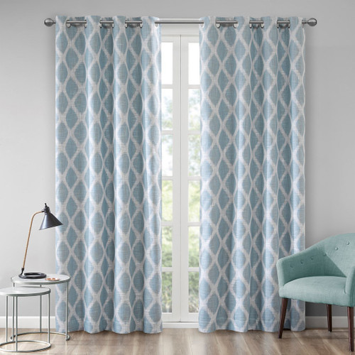 Aqua Blue & White Ikat Design BLACKOUT Window Panel - Room Darkening (Blakesly-Aqua-window)