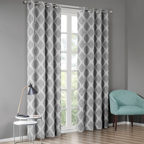 Grey & White Ikat Design BLACKOUT Window Panel - Room Darkening (Blakesly-Grey-window)
