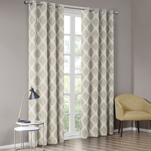 Taupe & White Ikat Design BLACKOUT Window Panel - Room Darkening (Blakesly-taupe-window)