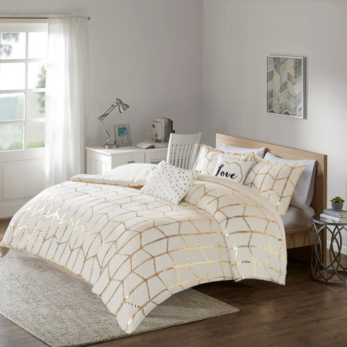 Ivory & Metallic Gold Geometric Duvet Cover Set AND Decorative Pillows (Raina-Ivory/Gold-duv)