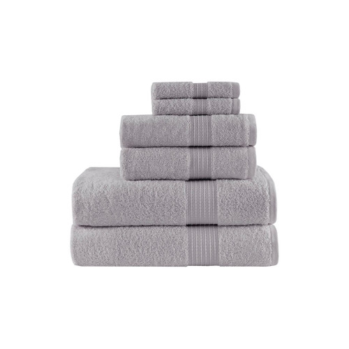 6pc Grey Organic Cotton Bath Towel Set - GOTS Certified - 650 GSM (Organic-Grey-Towel)