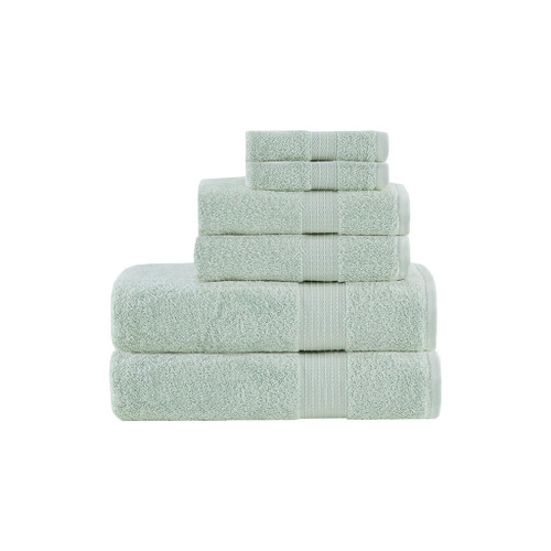 6pc Seafoam Organic Cotton Bath Towel Set - GOTS Certified - 650 GSM (Organic-Seafoam-Towel)