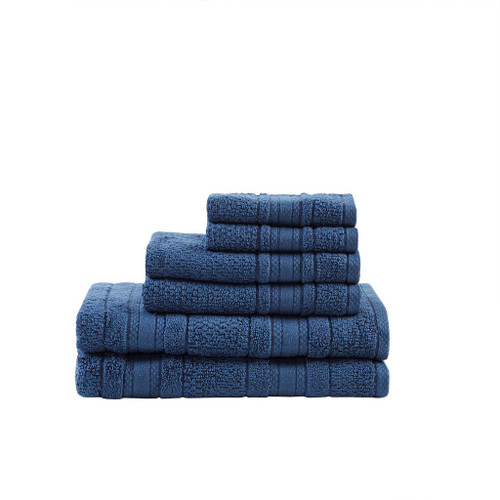 6pc Super Soft Blue Cotton Bath Towel Set (Adrien-Blue-Towel)