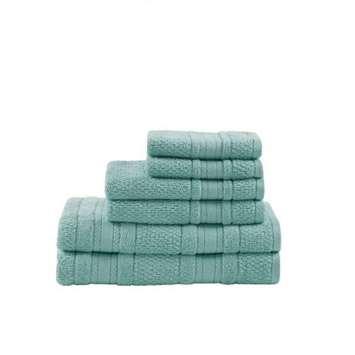 6pc Super Soft Seafoam Cotton Bath Towel Set (Adrien-Seafoam-Towel)