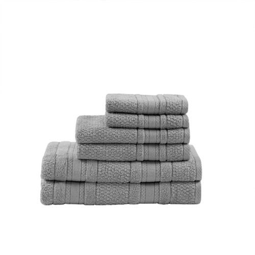 6pc Super Soft Silver Cotton Bath Towel Set (Adrien-Silver-Towel