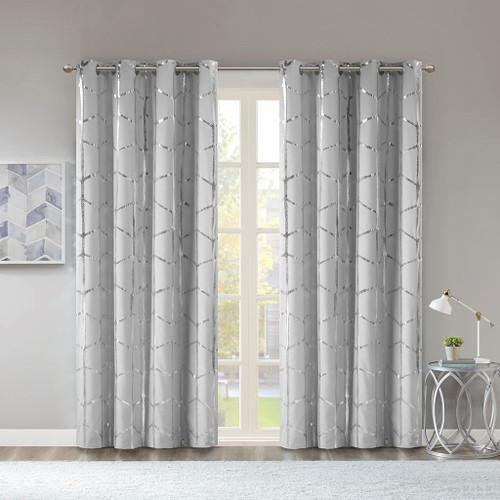 "Grey Geometric Metallic Silver BLACKOUT Window Panel- 50x84"" (Raina-Grey-window)"