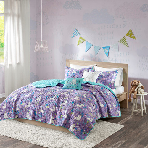 Purple & Aqua Blue Reversible Unicorns Coverlet Set AND Decorative Pillows (Lola-Purple-coverlet)