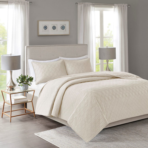 3pc Ivory Geometric Design Quilted Coverlet AND Decorative Shams (Linnette-Ivory-cov)