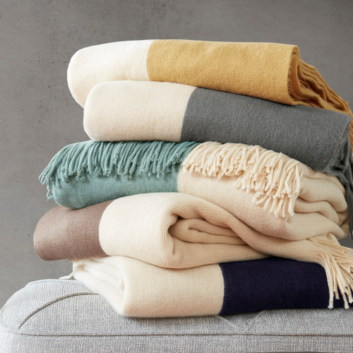 "Colorblock Faux Cashmere Throw w/Fringed Edges- 50x60"" (Stockholm-Throw)"