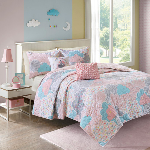 Pink Blue & White Playful Clouds Quilted Coverlet Set AND Decorative Pillows (Cloud 9-Pink-Cov)