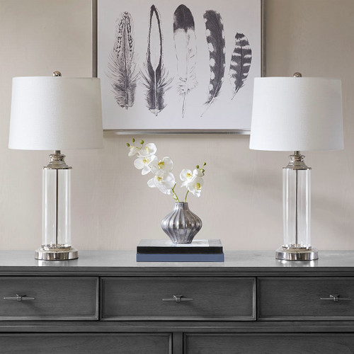 "Set of 2 Silver & Glass Table Lamps w/Off White Drum Shape Shade - 26""H (Clarity -Silver-Decor )"
