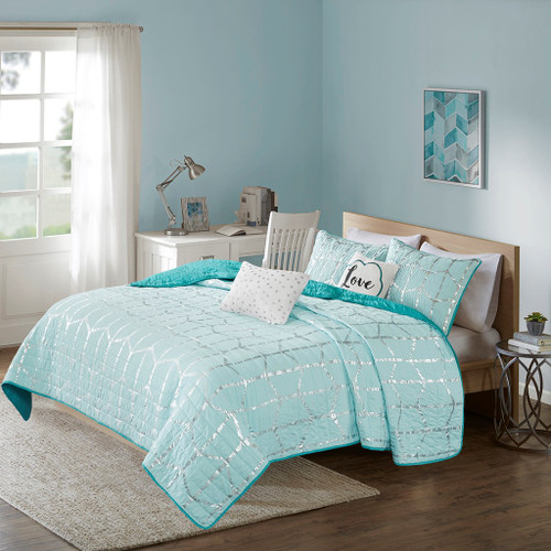 Aqua Blue & Metallic Silver Geometric Coverlet Set AND Decorative Pillows (Raina-Aqua-cov)