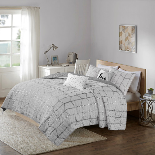 Grey & Metallic Silver Geometric Coverlet Set AND Decorative Pillows (Raina-Grey-cov)