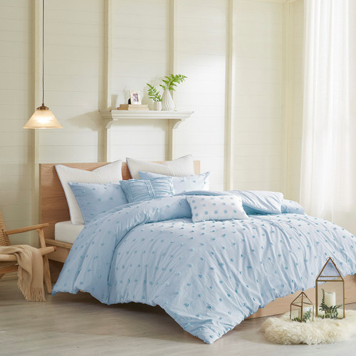7pc Blue Cotton Tufts Duvet Cover Set AND Decorative Pillows (Brooklyn-Blue-duv)