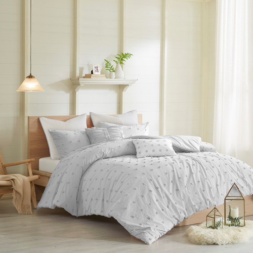 Grey Cotton Tufts Duvet Cover Set AND Decorative Pillows (Brooklyn-Grey-duv)