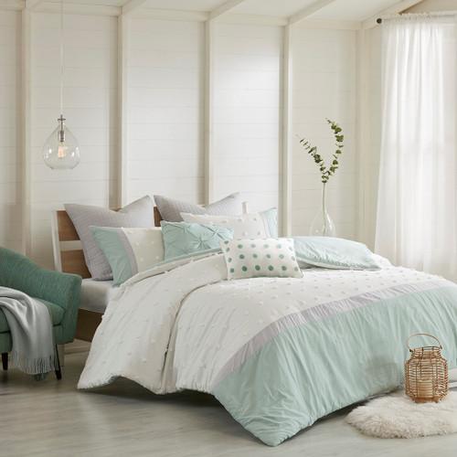 7pc Ivory Grey & Aqua Tufted Dots Duvet Cover Set AND Decorative Pillows (Myla-Aqua-duv)
