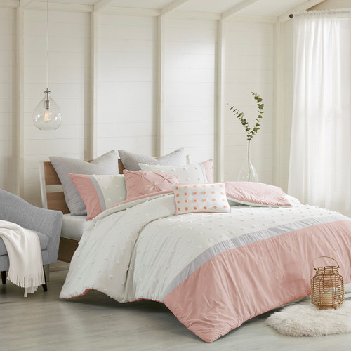 7pc Ivory Grey & Blush Tufted Dots Duvet Cover Set AND Decorative Pillows (Myla-Blush-duv)