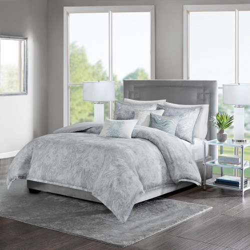 7pc Soft Grey Marble Print Duvet Cover Set AND Decorative Pillows (Emory-Grey-duv)