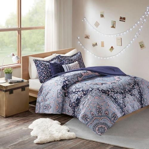 Oversized Medallions Floral Boho Comforter Set AND Decorative Pillows (Odette-Blue)