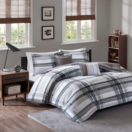Black & Grey Reversible Plaid Comforter Set AND Decorative Pillows (Rudy-Black)
