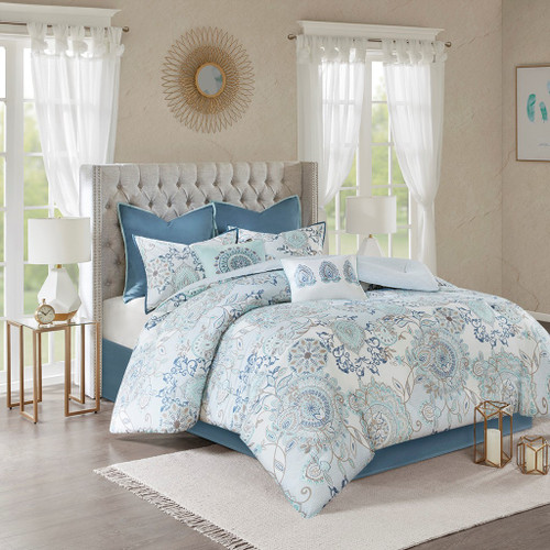 8pc Blue Botanical Floral Cotton Comforter Set AND Decorative Pillows (Isla-Blue)