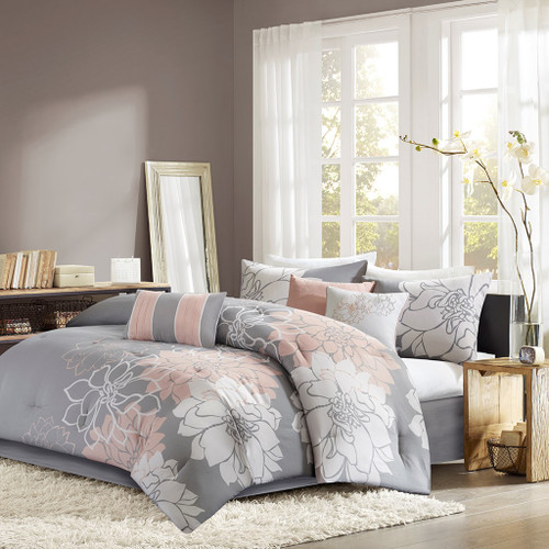 7pc Grey White & Blush Pink Floral Comforter Set AND Decorative Pillows (Lola-Grey/Blush)