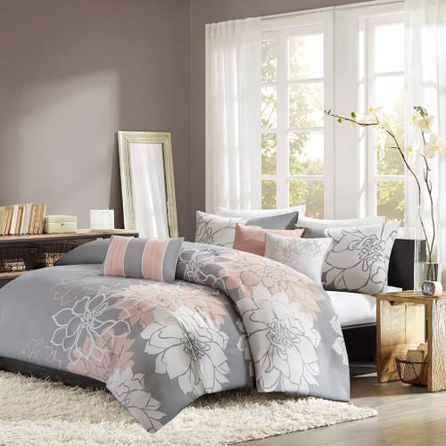 Grey & Blush Pink Reversible Cotton Duvet Cover Bedding Set AND Decorative Pillows (Lola-Grey/Blush-duv)