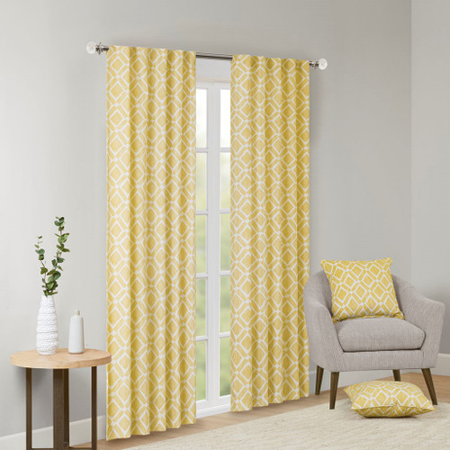 Yellow & White Diamond Motif Textured Window Curtain Panel (Delray-Yellow-window)