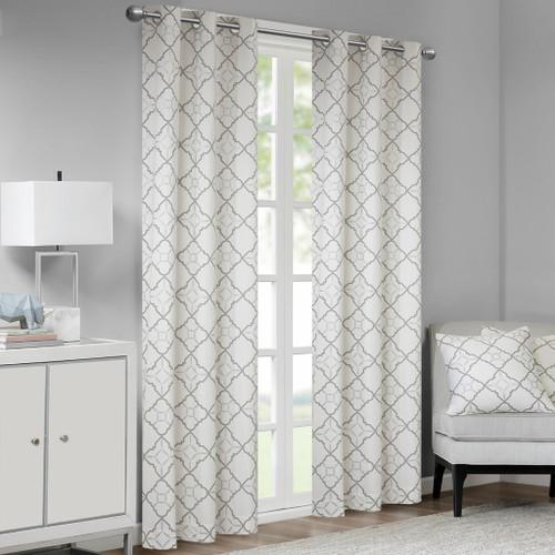Set of 2 Cotton Grey & Metallic Print Window Curtain Panels (Hayes-Grey-window)