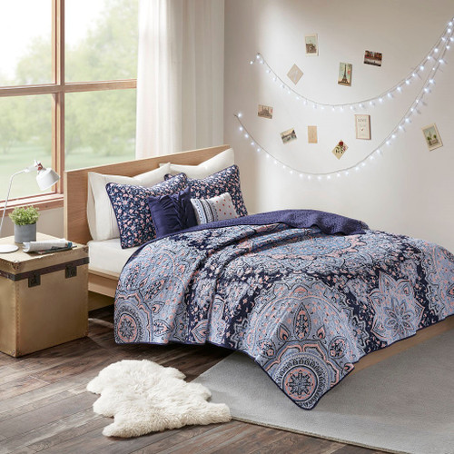 Oversized Medallions Floral Boho Coverlet Set AND Decorative Pillows (Odette-Blue-cov)