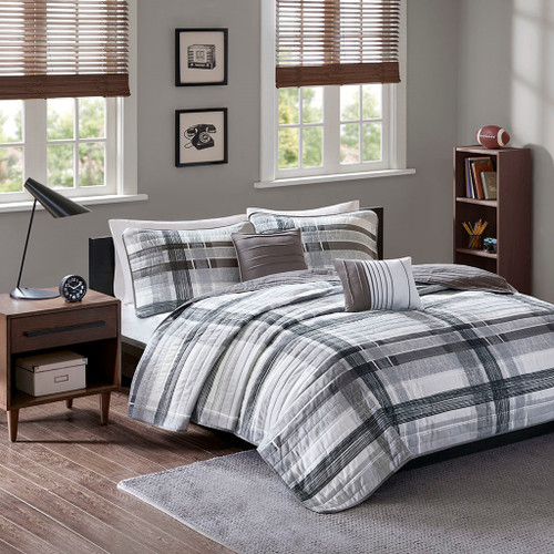 Black & Grey Reversible Plaid Coverlet Set AND Decorative Pillows (Rudy-Black-cov)