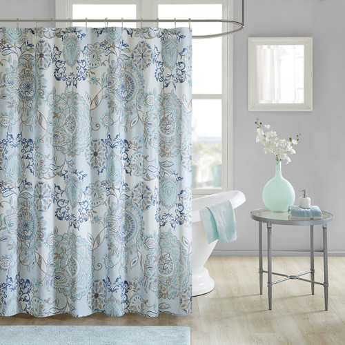 "Blue Botanical Floral Cotton Printed Fabric Shower Curtain - 72x72"" (Isla-Blue-Shower )"