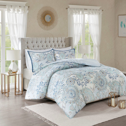 3pc Blue Botanical Floral Cotton Duvet Cover AND Decorative Shams (Isla-Blue-duv)