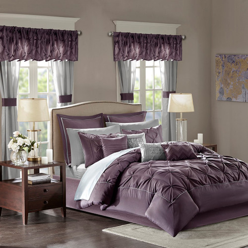 24pc Plum Purple Tufted Comforter Set, Sheets, Pillows, Curtains AND More (Joella-Plum)
