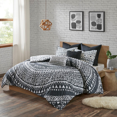 7pc Black & White Geometric Medallion Comforter Set AND Decorative Pillows (Larisa-Black)