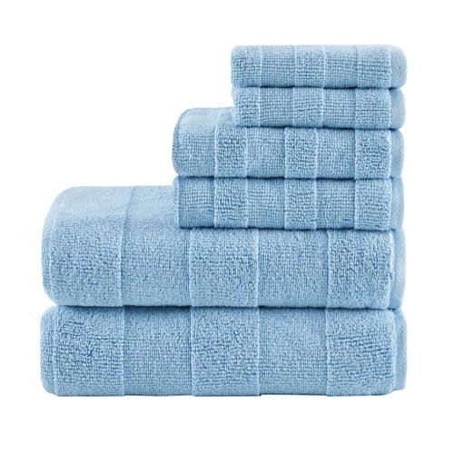 6pc Blue Stripe Jacquard Cotton Bath Towel Set - 650 GSM (Parker-Blue-Towel)