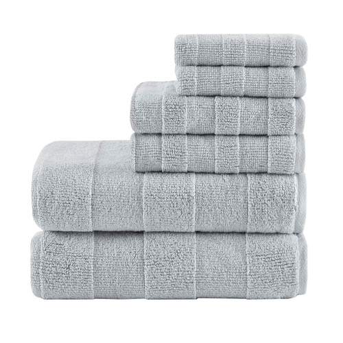 6pc Grey Stripe Jacquard Cotton Bath Towel Set - 650 GSM (Parker-Grey-Towel)