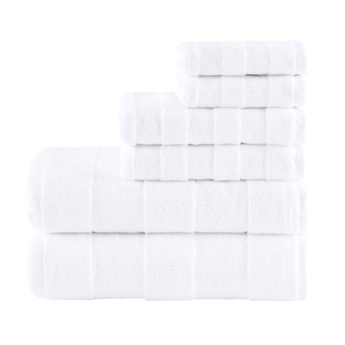 6pc White Stripe Jacquard Cotton Bath Towel Set - 650 GSM (Parker-White-Towel)