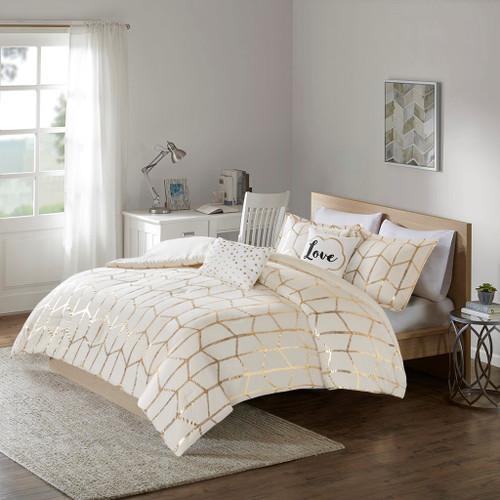 Ivory & Metallic Gold Geometric Comforter Set AND Decorative Pillows (Raina-Ivory/Gold)
