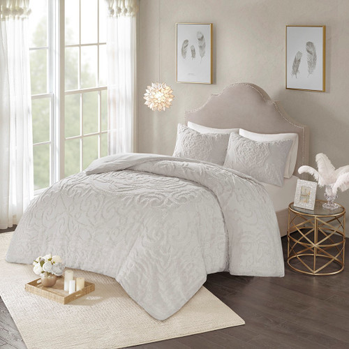 3pc Soft Grey Cotton Chenille Medallion Comforter AND Decorative Shams (Laetitia-Grey)