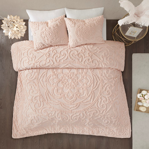 3pc Blush Pink Cotton Chenille Medallion Duvet Cover AND Decorative Shams (Laetitia-Blush-duv)