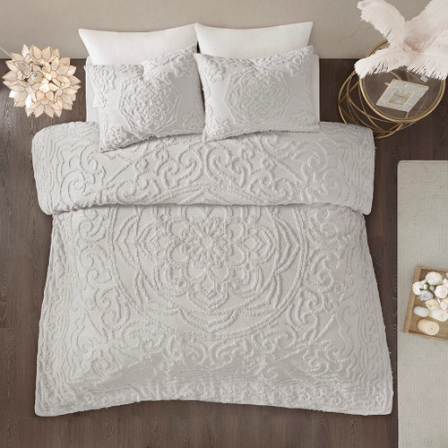 3pc Soft Grey Cotton Chenille Medallion Duvet Cover AND Decorative Shams (Laetitia-Grey-duv)