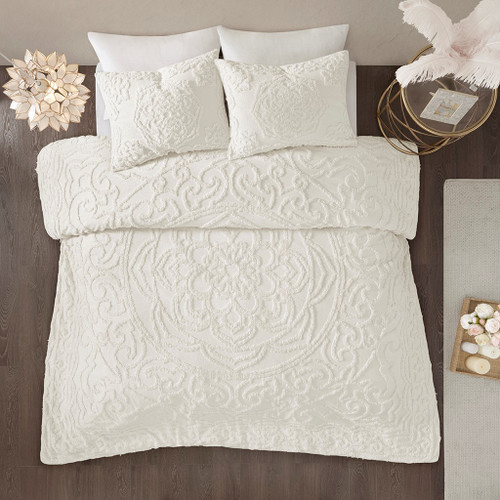 3pc Ivory Cotton Chenille Medallion Duvet Cover AND Decorative Shams (Laetitia-Ivory-duv)