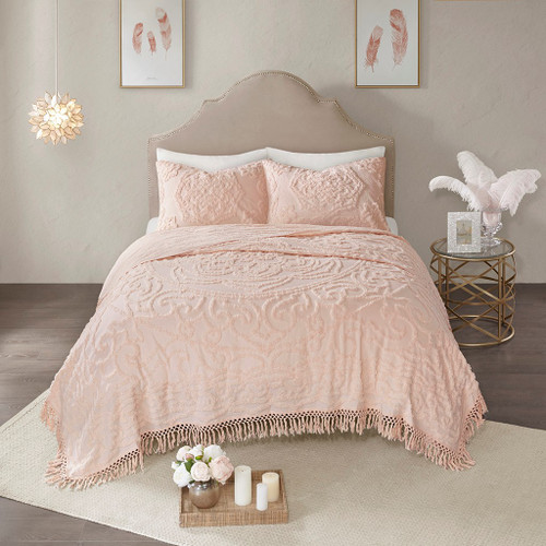 3pc Blush Pink Cotton Chenille Medallion Coverlet AND Decorative Shams (Laetitia-Blush-cov)
